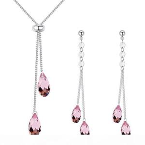 High Quality Jewelry Sets For Women Crystal from Swa Elements Teardrop Teardrop Water Drop Pendant Earrings Necklace 26000