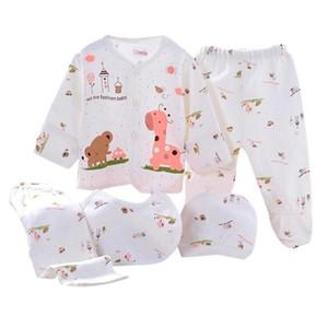 abbigliamento TELOTUNY bambini 5PCS Newborn Baby Boy Cute Girl cotone del fumetto della stampa manica lunga + Hat + Pants + Bib Outfit Set luglio