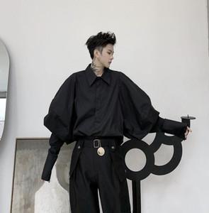 Слоеное рукав рубашки мужчин длинный рукав рубашки подросток корейская мода панк Кардиган личности рубашка мужская черная D216