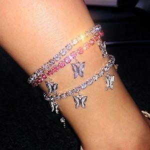 Stonefans or Tennis bijoux en strass pour les femmes de cristal Pendentif papillon cheville Plage pied Bracelet chaîne
