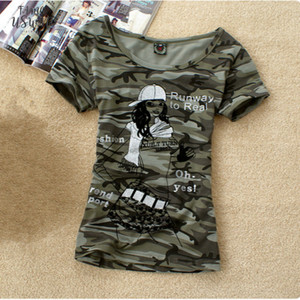 Summer Army Camouflage Tshirt Women Letter Crown Printed T Shirts Stretch Military Uniform Big Size 4Xl Casual Tee Tops Clothes