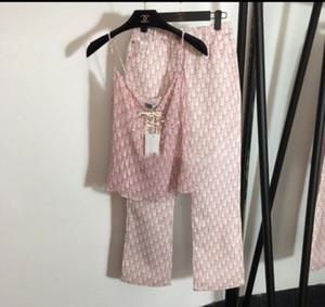 여성을위한 마이크로 혼 바지 V 넥 쉬폰 문상 핑크 인쇄 된 편지 - 섹시한 조끼 소송