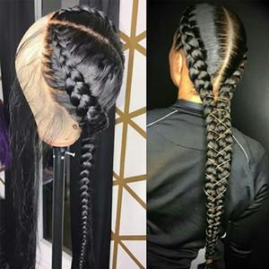 Las pelucas de pelo humano pre desplumados llenas del cordón con el pelo del bebé brasileño recto peluca de encaje transparente trenzado sin cola peluca llena del cordón de Remy