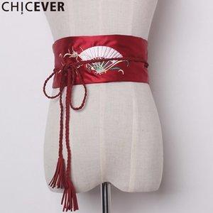CHICEVER Embroidery Floral Tassel Female Belts For Women Cummerbunds Black Bandage Women's Belt Fashion New 2020