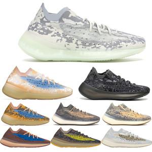 Los niños de calidad superior Kanye West 380 Extranjero niebla azul avena 3M reflectante de diseño zapatos de niño de las zapatillas de deporte de la arcilla Beluga Triple Negro Blanco