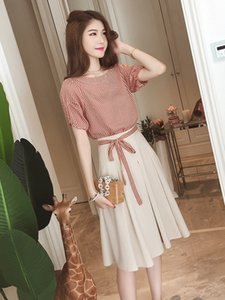women's A- A- line 2020 new style slimming suit dress Xia Haoxian's two-piece suit goddess A- line dress