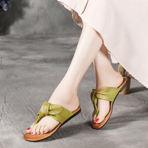 YourSeason натуральная кожа Женская обувь 2020 Новое лето Вьетнамки Flat С Вне Wear Ladies Национальный стиль тапочки