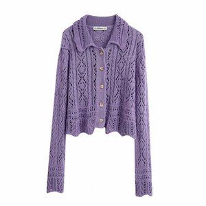 2020 women fashion hollow out texture knitting casual sweater ladies long sleeve buttons leisure cardigan sweater coat tops S261