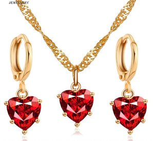 Women Necklace Earrings Jewelry Set Fashion Red Crystal Heart Pendant Necklace Earring Jewelry Gifts for Lover
