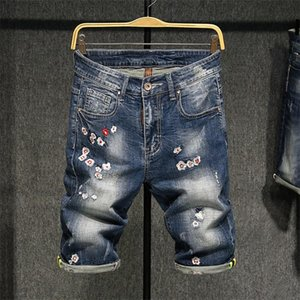 Fashion mens designer jeans short mens baggy jeans short broken style rock ripped pants size 28-38