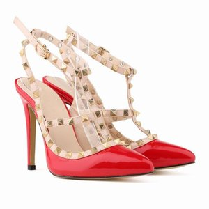 new women high heels party fashion rivets pointed shoes Dance shoes Double straps sandals wedding shoes