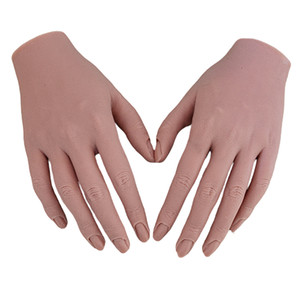 1 Pair Nail Arts Practice Hand Flexible Mannequin Hand Manicure Learining Training for Beauty Salon Hotel