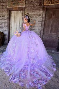 Lavendel Prinzessin Promkleider Spitze Applqiues Bonbon-16-Kleid-Gerichts-Zug vestidos de 15 años 2021 prom Kleid