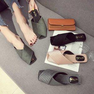 Шелковые обувь женщина кросс связали тапочки весь матч флип-флоп короткие удобные слайды случайные плоские сандалии Femme 2020mules обувь