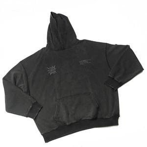 Reflectante DistressedBlack con capucha iridiscente patrón de Hip Hop de gran tamaño suéter Streetwear otoño