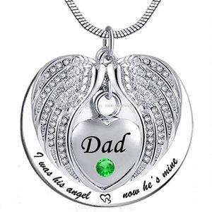Unisex Angelo Ala Birthstone Memorial Keepsake Ashes Urn Collana 'ho usato per essere il suo punto di vista, ora è mine'- papà