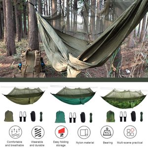 Outdoor Hammock with Mosquito Net 2 Person Netted Camping Tent High Strength Parachute Fabric Hanging Bed Hunting Sleeping Swing