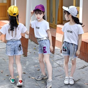 2020 Summer Girl washed ripped denim shorts in the big kids denim Shorts hot hot pants pants outer versatile raw-cut