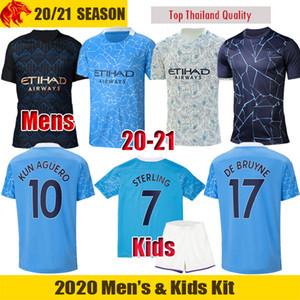 20 21 Manchester City Camiseta de fútbol JESUS 2020 2021 DE BRUYNE KUN AGUERO SANE camiseta de fútbol STERLING Hombres Jersey niños kit