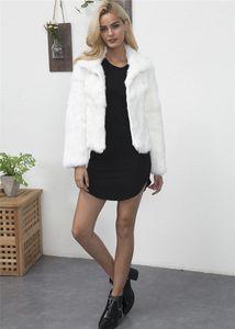 Color White And Black Lapel Neck Jacket Famale Fashion Short Cost Women Faux Fur Coats Winter Solid