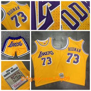 Mitchell Ness 73 Dennis Rodman Los AngelesLakersRitorno al passato Jersey Rodmannba Giallo HardwoodClassici Basketball Shorts