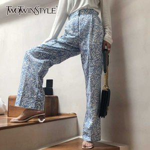 TWOTWINSTYLE Elegant Print Full Length Pants High Waist Hit Color Casual Wide Leg Pant Female Fashion 2020 Summer Clothes Tide