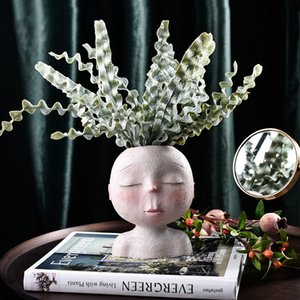 New Creative Resin Flower Vase Portrait Head Face Planters Handmade Artwork Sculpture Ornament Home Gardening Decorations Y200709