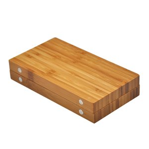 RICH DOG 249MM*242MM Bamboo Multifunctional Tobacco Rolling Tray Backflip Bamboo Magnetic Rolling Tray Smoking Herb Grinder Storage Case