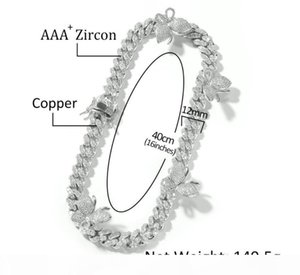 J Hip Hop Micro Setting Zircon Butterfly 12mm Cuban Necklace Fashion Personality Men And Women &#039 ;S Clavicle Chai