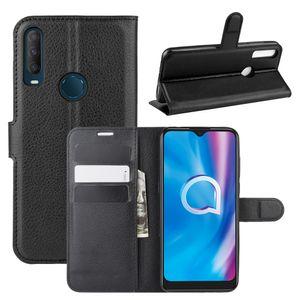 Alcatel 1S 1C 3 3L 1 1X 1C 3X 3V 3C 7 5044R 2019 2020 için telefon deri çantalar Lychee Cüzdan Capa vaka