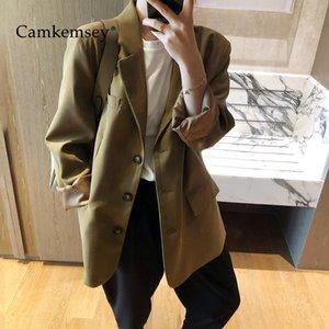 CamKemsey Büro-Dame Arbeitskleidung Leisure Suit Coats 2020 Herbst Langarm Reverskragen beiläufige Einreiher Blazer Jacken