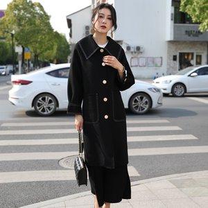 Dan Lana lana Yafei capa de lana nueva aguja arco de un solo pecho tubo recto delgado cachemira de doble cara capa femenina