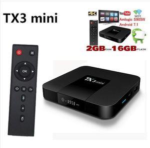 التلفزيون مربع TANIX TX3 البسيطة 1G + 8G / 2 + 16G الروبوت مربع التلفزيون 7.1 AMLogic نوع S905W رباعية النواة 4K 2.4G واي فاي 100M الشبكة المحلية