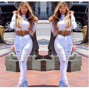 2020 2020 Новая мода Wild Повседневный Big Hole маленькие ноги штаны Личность оттачивая Сломанный упругой джинсы WOMENS брюки jtq4 #
