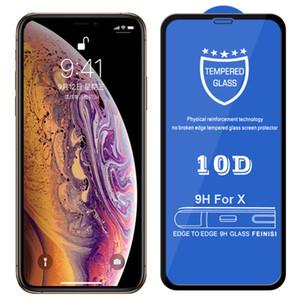 10D закаленное стекло 9Н Твердость Полное покрытие Покрытие Изогнутая Защитная пленка для iPhone 12 Pro Max 11 XS XR X 8 7 6 6S Plus SE 2020