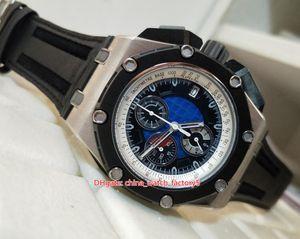 2 Couleur Top Qualité Watch N8 Maker 44mm Royal Oak Offshore 26290 Élastiques Chronographe travail VK Mouvement Quartz Hommes Montres Homme