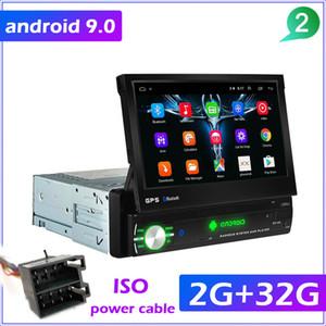 """FreeShipping 1din Radio navegación GPS del coche de 7"""" HD de pantalla retráctil 9.0 Reproductor multimedia Cámara universal de audio reproductor de vídeo DVD sin"""