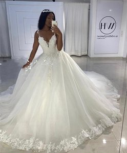 2020 Appliques Princess Ball Gown Vintage Lace Wedding Dresses Sequined Beaded Plus Size Vestido De Novia Gelinlik Trouwjurk Bridal Gowns