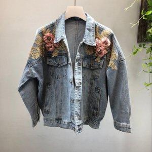 2020 Fashion Cool 3D Flower Beading Batwing Sleeve Sleeve Women Deinm Jacket Coat Autumn Women Bomber Jacket Coat Tops For