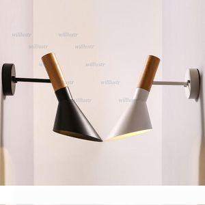 pared Willlustr aplique de la lámpara de pared AJ moderno diseño de vetas de madera de diseño de pared de metal negro lámparas de hierro blanco de luz de iluminación nordic