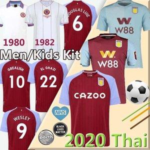 20 21 Aston Villa camisola retro de futebol 1980 1982 WESLEY Grealish Kodja EL Ghazi CHESTER McGinn Player versão de futebol camisas homens kit + crianças