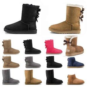نيو أستراليا النساء أحذية الثلوج الكلاسيكية الكاحل فروي القوس القصير التمهيد الفراء لالكستناء الشتاء رمادي أسود أحذية للنساء الحجم 36-41 أزياء في الهواء الطلق
