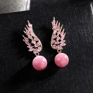 Angel Wings Earrings For Women Brand Design Fashion Jewellery 925 Silver Needle Romantic Pearl Pendant Earring