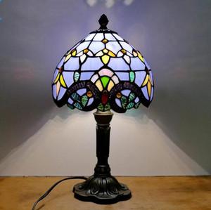 Mediterranean Style Restaurant Bar Cafe LED Vintage Desk Lamp Bedside Colorful Glass Table Lamps Nightstand Light Bedroom Lamp(NO Bulbs)