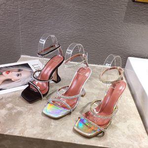 Kadınlar makara topuk seksi kulüp tokaları Blok yüksek topuklu Altın gümüş düğün ayakkabıları tatil ayakkabı 0196 panelli sandalet yaz ayakkabı yapay elmas