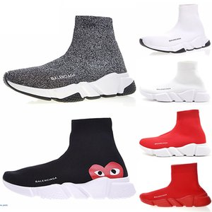 New men women socks shoes speed trainer black white glitter pink blue fashion mens trainers casual canvas sneakers platform