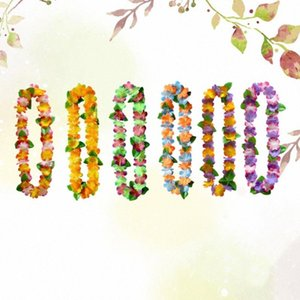 6pcs Hawaii guirnalda del colgante del collar de ornamento floral Garland cuello colgante Funcionamiento de la flor (color al azar) luuu #