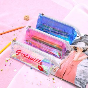 4 Styles Pencil Bags Laser Transparent cute Pencil Cases with Zipper for Office School Home Cosmetic Small Makeup PVC Tool Bag A07