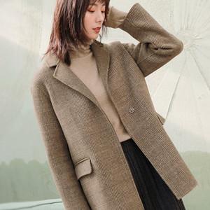 2020 donne cappotto di lana pile moda plaid cuciti a mano di alta qualità che coprono il vestito nuovo autunno e l'inverno ufficio signora delle donne di lana