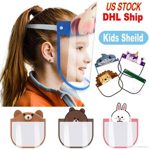 US Free Stock DHL Kid Cartoon Visage Bouclier Masques de protection transparent Anti-poussière anti-buée facial Bouclier anti-poussière coupe-vent PET Masque